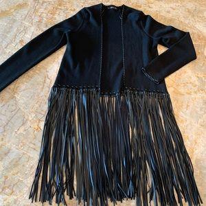 NWOT Zara Boho Faux Leather Fringe Black Cardigan